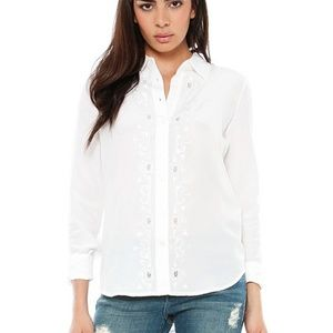 Equipment Brett Clean Blouse with Embroidery
